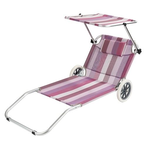 Plážové ležadlo so strieškou - vozík